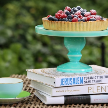 Our fabulous Ottolenghi cookbooks and aqua cake stand